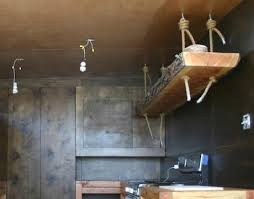 kitchen rope shelf hanging from ceiling