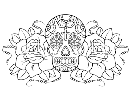 sugar skull and roses coloring page
