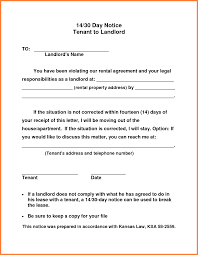 30 days notice to landlord letter sle 30 day notice