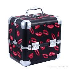 makeup train cases containers red lips cosmetic case for cosmetics organizer bags women tote make up