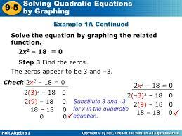 solving quadratic equations by graphing lesson 9 5 tessshlo