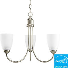 gather collection 3 light brushed nickel chandelier with etched glass
