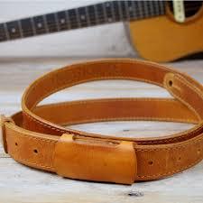 gs55 slim leather guitar strap tan