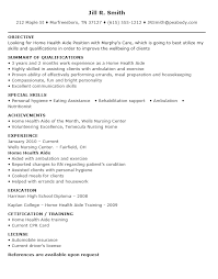 Sample Resume For Home Health Aide