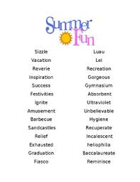 Summer Word List Summer Spelling List Worksheets Teaching Resources Tpt