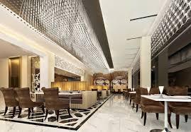 Modern Restaurant Interior Design : Modern Contemporary Restaurant  Decoration With White Pedestal Tables Combine With Brown ...