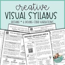 middle school art syllabus template. Creative Visual Syllabus Template Pack 2 for Back to School EDITABLE