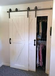 this single track byp barn door hardware kit allows two doors to over lap each other so they are basically always connected but one door can slide in