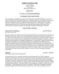 Construction Estimator Resume Sample Pin On Example Resume Cv