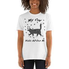 Gildan 64000 Unisex Softstyle T Shirt Size Chart My Cat Walks All Over Me Gildan 64000 Unisex Softstyle T Shirt With Tear Away Label