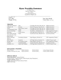 Theatre Resume rgammon. Ryne Franklin Gammon ...