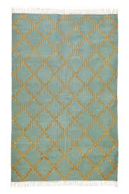 shailee gold thread green cream dhurrie rug
