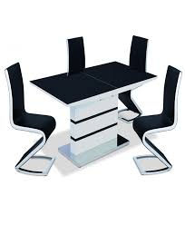 aldridge high gloss dining table white with black glass top 4 chairs