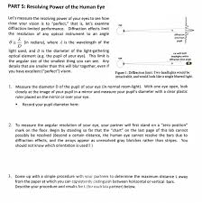 Normal Pupil Size Chart Solved Part 5 Resolving Power Of The Human Eye Lets Mea