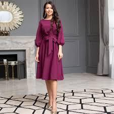 <b>2019 Autumn Vintage</b> Solid Lantern Sleeve a Line Dress Women ...