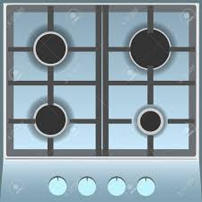 Empty Gas Stove Top View Flat Vector Illustration Royalty Free