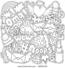 coloring book page for with fashion patch badges in cartoon 80s 90s ic doodle