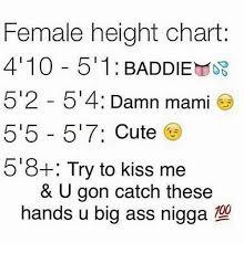Female Height Chart 410 5 1 Baddie 5 2 5 4 Damn Mami 515