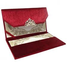 red couture velvet invitation with luxury pearl crystal crown Red Velvet Wedding Invitations opened velvet envelope showing pearl brooch and invitation card placed in it's pocket holder Wedding Invitation Templates
