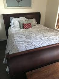 wood sleigh bed queen cherry wood sleigh bed queen matching dresser furniture cherry wood sleigh bed