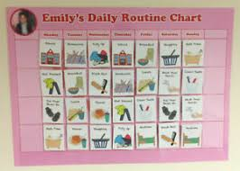 Kids Daily Routine Chart Details About Kids Daily Routine Chart Personalised Hearts Velcro Girls Toddler Autism Adhd