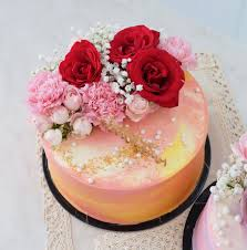 Fresh Flowers Birthday Soft Cake Red Bloomwood Florist Indonesia