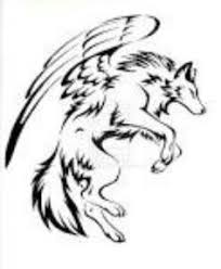 tribal wolf with wings drawing. Simple Wings Wolf With Wings Tribal Wolf Tattoo Tattoo Design Sleeve  Inside With Wings Drawing T