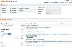 theses dissertations library screen sample of the primo search website search terms entered into search fields and
