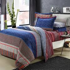 blue brown and red traditional college dorm room checd and stripe kids and teen 100 brushed cotton bedding duvet cover sets