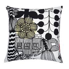 Marimekko Lintukoto White/Black Throw Pillow