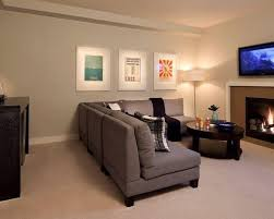 rec room furniture. midsized transitional underground carpeted basement photo in vancouver with gray walls and a standard rec room furniture