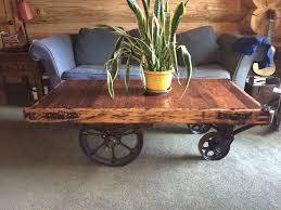 ... Coffee Table, Breathtaking Brown Rectangle Traditional Wood Factory  Cart Coffee Table On Wheels Designs To ...