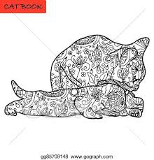 cat mother and her funny kitten coloring book for s cat book hand drawn vector ilration with patterns
