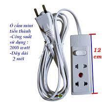 Ổ cắm điện mini 2 hoặc 3 ổ cắm dây dài 2 - 2.5 mét - công suất 2000 watt  Tiến thành