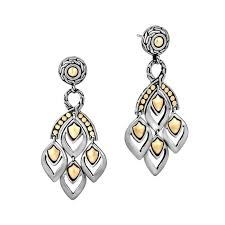 john hardy legends naga chandelier earrings in sterling silver and gold