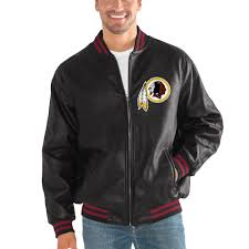 er mens washington s g iii sports by carl banks black stiff arm pleather varsity jacket more