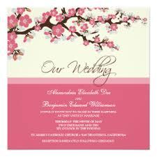 pink cherry blossom wedding invitations announcements zazzle