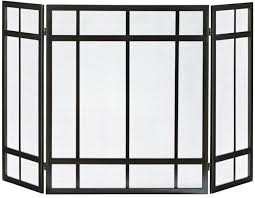 fireplace screen 3 panel black mission style hearth cover metal steel wenge fire
