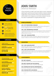 Creative Cv Resume Template Yellow Color Minimalist Vector