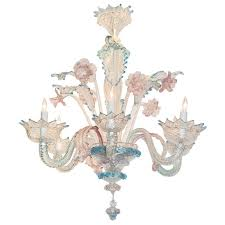 lovely antique blue and pink murano glass chandelier at 1stdibs with regard to blue glass chandelier