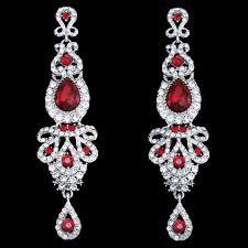 red chandelier long drop earrings long drop bridal red