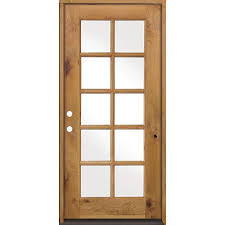 classic french alder 10 lite clear low e glass right hand unfinished wood exterior prehung front door