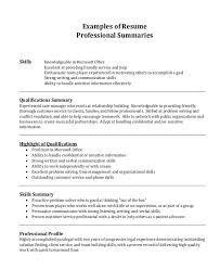 Professional Summary Resume Sample Williamson Ga Us