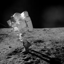black and white astronaut photography. astronaut edgar mitchell looks at traverse map during eva   nasa image and video library black white photography n