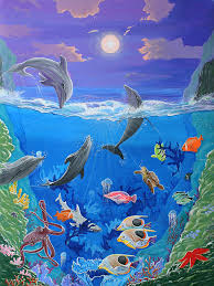 abstract painting whimsical original painting undersea world tropical sea life art by madart by megan