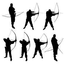 弓と矢と弓の女性のシルエットのイラスト素材ベクタ Image 43226095