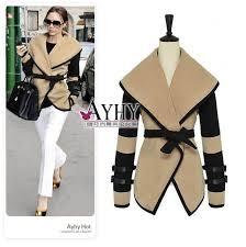 colorblock wide notched lapel buckle strap cuffed wool wrap cape jacket l98043