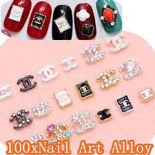 designs nail art alloy brand name 3d metal nail art decorations with shining rhinestones nabc nail chanel nail stickers