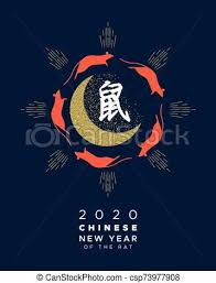 chinese new year card 2020 chinese new year rat 2020 gold glitter moon card