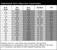 Timberland Shoe Width Chart Timberland Earthkeepers